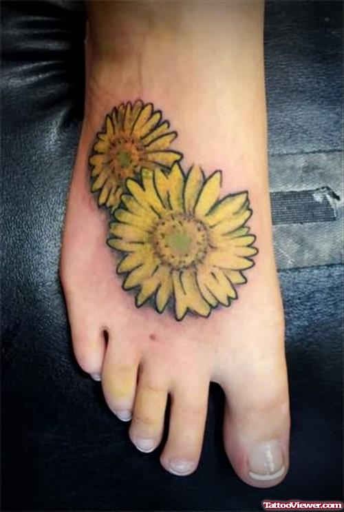 Two Sunflowers On Foot