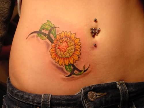 Tattoo Hip Flower With Shadow
