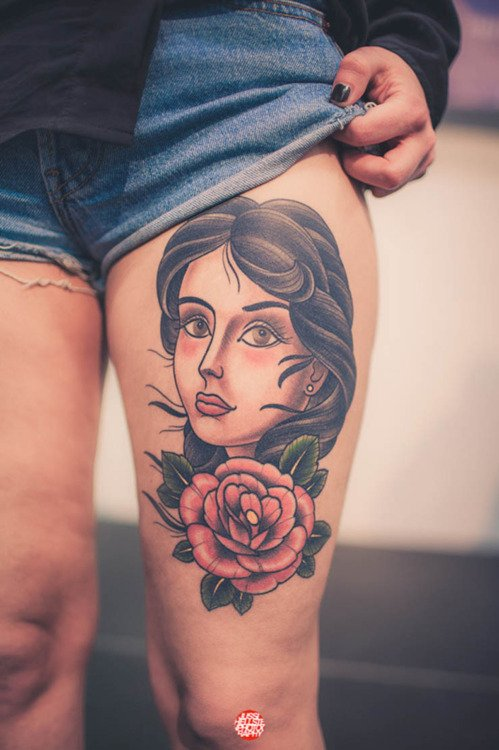 Girl Face and Red Rose Thigh Tattoo