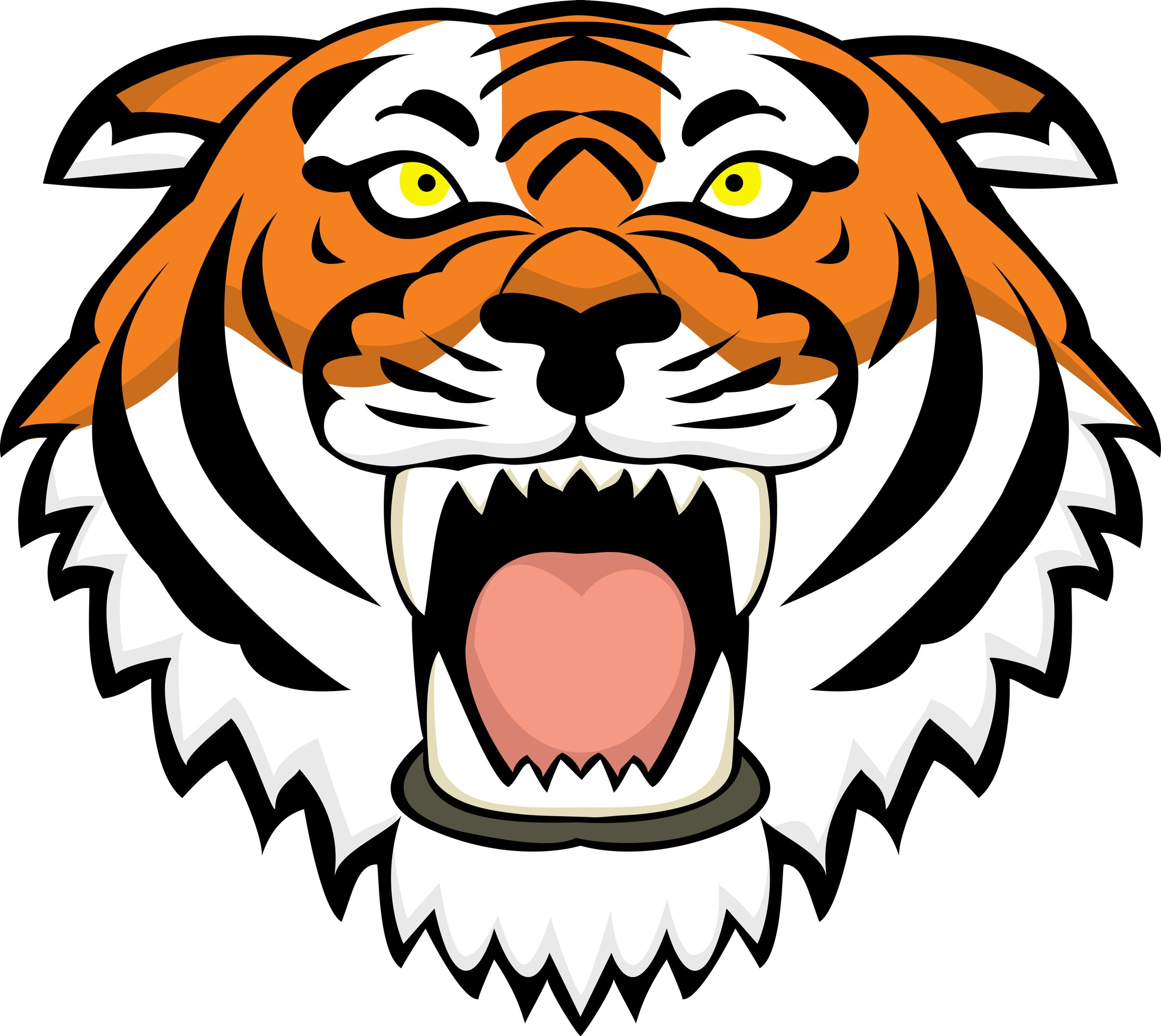 Awesome Color Ink Tiger Head Tattoo Design For Men