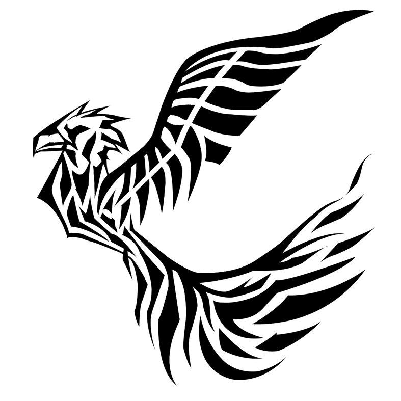 Black Ink Tribal Flying Bird Tattoo Design