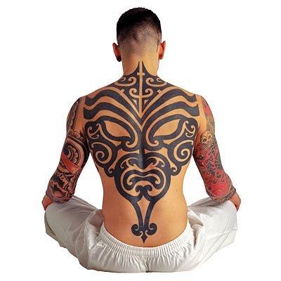 Tribal Hanya Mask Tattoo On Back