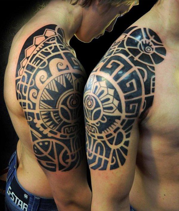 Black Ink Maori Tribal Tattoo On Right Half Sleeve