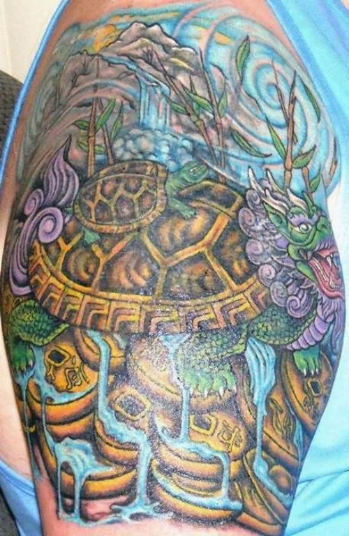 Mythical Turtle Tattoo On Shoulder