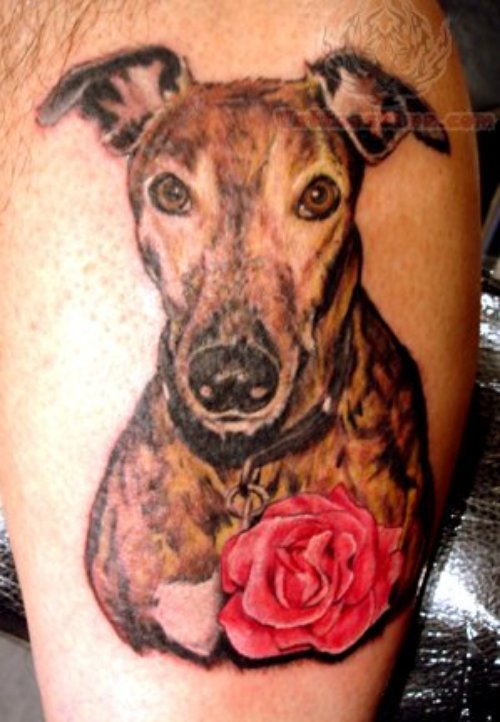Rose And Dog Tattoo