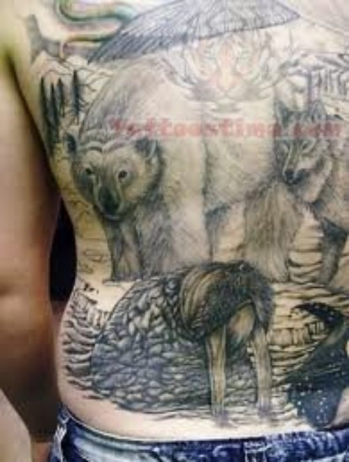 Full Back Wildlife Tattoos