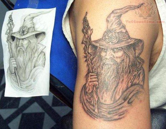 Wizard Portrait Tattoo On Bicep