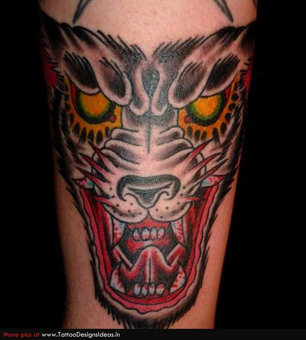 Color Wolf Head Tattoo