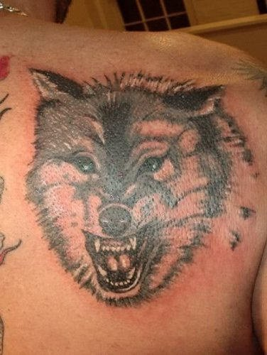Awesome Grey Ink Angry Wolf Head Tattoo On Right Back Shoulder