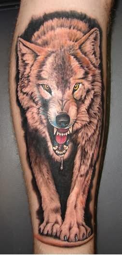 Crawling Amazing Wolf Tattoo