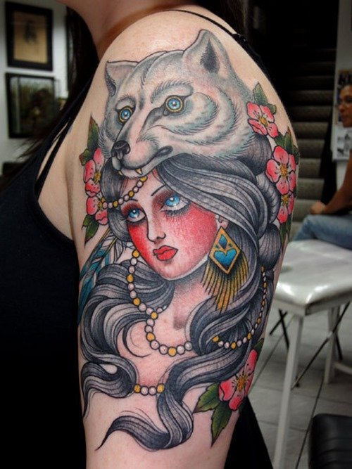 Wolf Tattoo On Girl Left Half Sleeve
