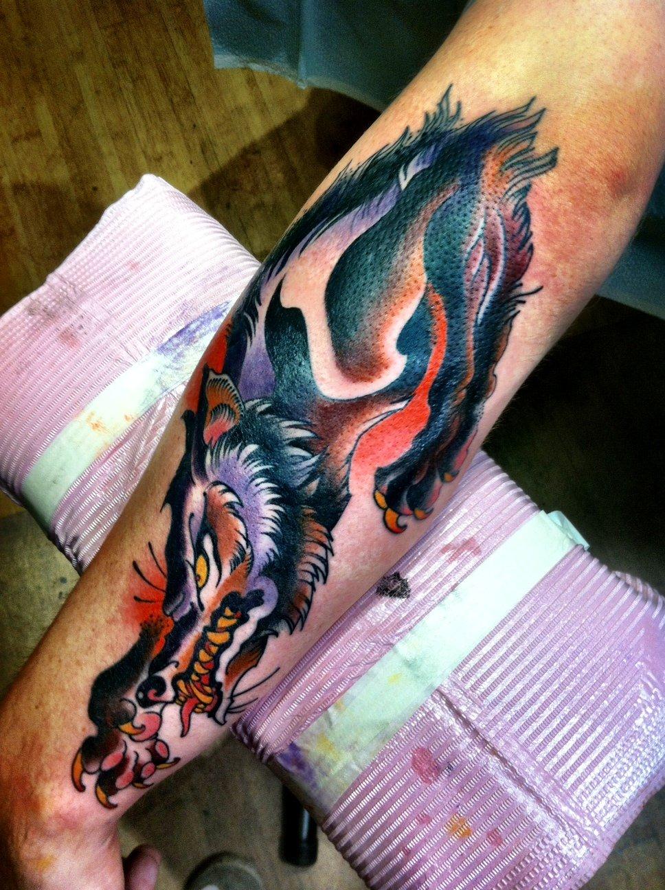 Wolf Tattoo On Left Sleeve