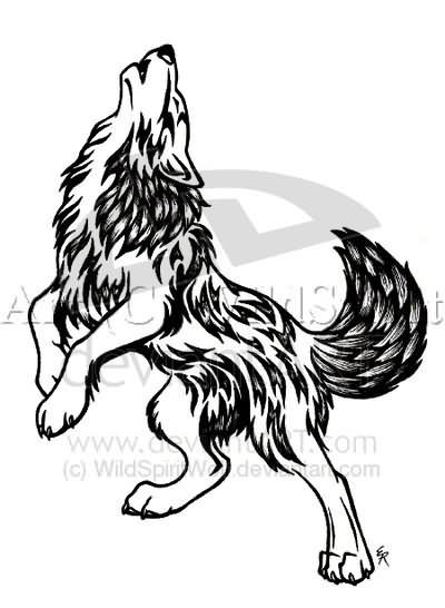 Attractive Howling Wolf Tattoo Design