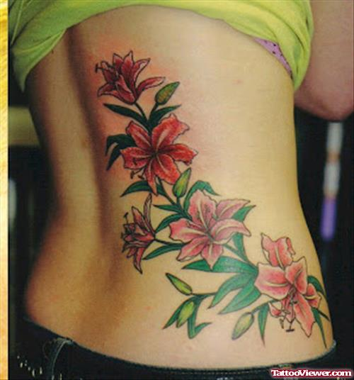 Color Orchid Flowers Women Tattoo On Back