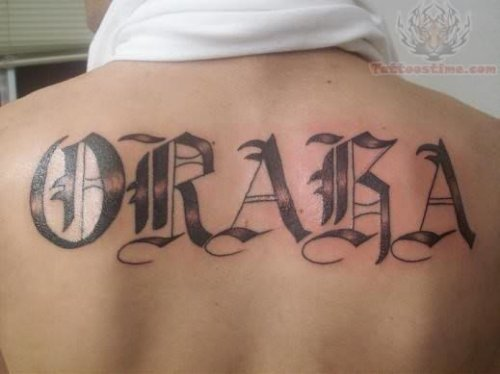 Tattoo Design in Old English Font on Back